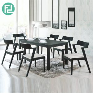 MILLINO 6 seater solid wood dining set-cappucino