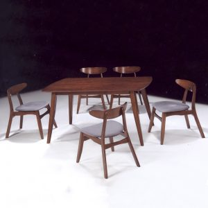 MODESTO Solid wood 6 seater dining set-walnut