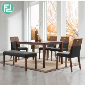 ROMAN 6 seater solid wood dining set with bench-walnut