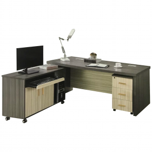 RONNIE 6ft office desk system with pedestal-wal