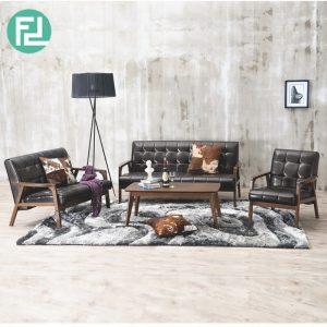 SOMERSET Solid Wood Sofa Set-Black PU