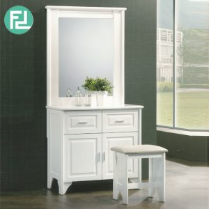 VIRGINIA dressing table set with stool-white