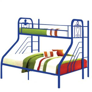 PONGO single over queen metal bunk bed-BLUE