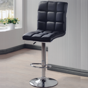 H209 Cushion back rest barstool with chrome legs-black