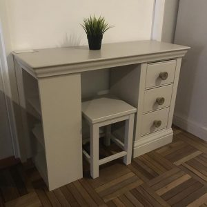 Clearance-Grey color study desk with stool