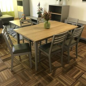 Clearance-Solid oak top 6 seater dining set in grey color