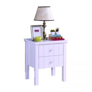 LERWICK solid wood painted 2 drawer bedside table-white