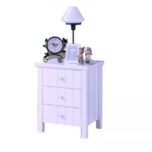 LERWICK solid wood painted 3 drawers bedside table-white