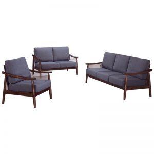 MODESTO Solid wood retro sofa set-walnut
