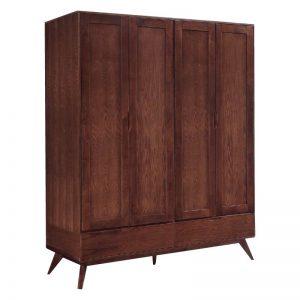 MODESTO Solid wood 4 door wardrobe-walnut