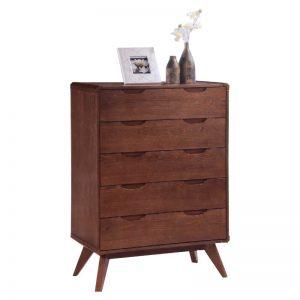 MODESTO Solid wood 5 drawer chest-walnut