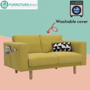 MINEX 2 seater washable cover fabric sofa- Yellow