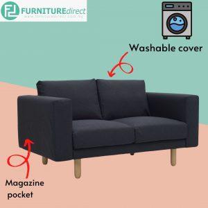 MINEX 2 seater washable cover fabric sofa- Grey