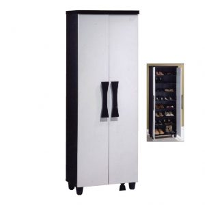 AURORA 2 door 8 tier high shoe cabinet-white