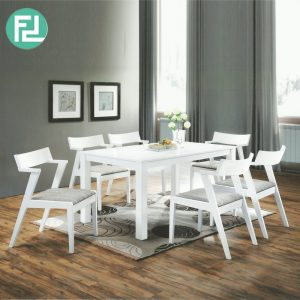 MILLINO 6 seater solid wood dining set-white
