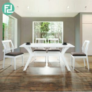 METRO 6 seater solid wood dining set-white