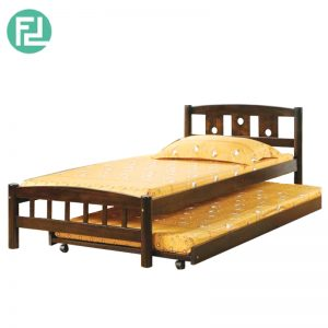 CUSCO single size wooden bedframe with trundle-cappucino