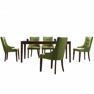 RUBY 6 seater rectangular solid wood dining set-Green
