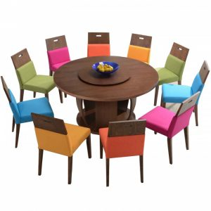HENRY 10 seaters round solid wood dining set-walnut