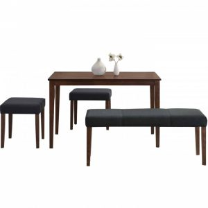 SCOT 4 seater solid wood dining set with bench-walnut