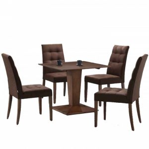 CORAL 4 seater square dining set-walnut