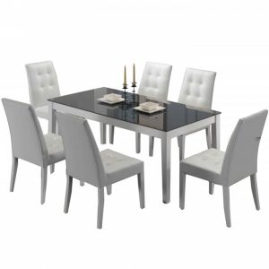 CORAL 6 seater glasstop dining set- white