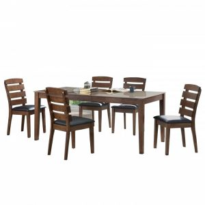 TEXAS 6 seater solid wood glasstop dining set-walnut