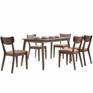 MARIA 6 seater solid wood dining set-walnut
