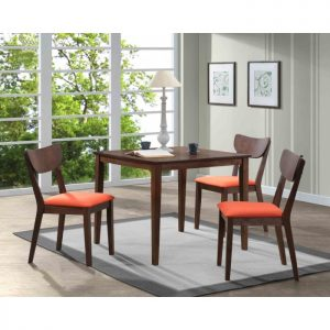 MARIA 4 seater solid wood square dining set-walnut