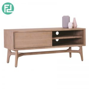 COSLO 4ft solid acacia wood TV cabinet