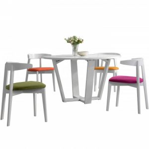 MARY 4 seater round dining set-white
