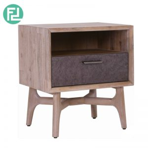 COSLO solid acacia wood side table