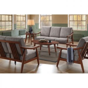 NICOLE solid wood sofa set with coffee table-Grey