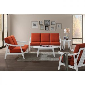 NICOLE solid wood sofa set with coffee table-Red
