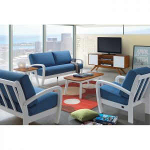 ANNA solid wood sofa set with coffee table-Blue