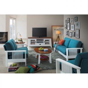 RACHEL solid wood 123 seater sofa set-Blue