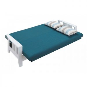 RACHEL solid wood 3 seater sofa bed-Blue