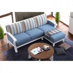 JOSE solid wood L shaped sofa-Blue