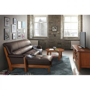 LAURA solid wood L shaped sofa- Brown