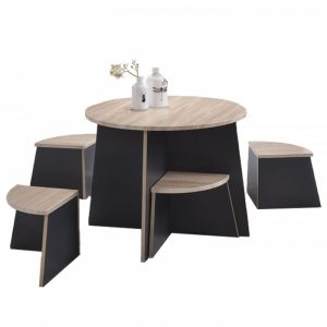 LUKE 4 seater kids space saver table set-oak/black