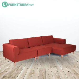 DERBY 3 seater L shaped fabric sofa- orange red