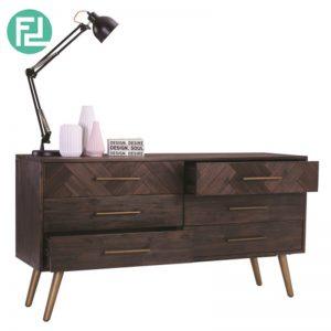 SIVAN 6 Drawer Dresser in Dark Brown Body