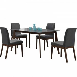DANIKA 4 seater glasstop rectangular dining set