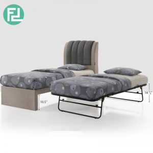Clearance- FULHAM single size pull out bed with metal folding bed (last 2pcs)