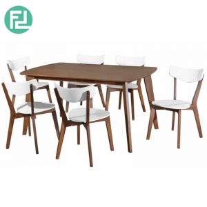 ROLDHA Dining Set (1+6) with Cocoa color Dining Table & White/Cocoa Dining Chair