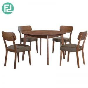 HALP Dining Table (1+4) with 4 Halp Solid Beech Chair - Merlot Beech