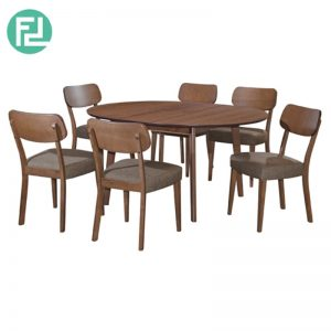 HALP Dining Table (1+6) with 6 Halp Solid Beech Chair - Merlot Beech