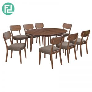 HALP Dining Table (1+8) with 8 Halp Solid Beech Chair - Merlot Beech
