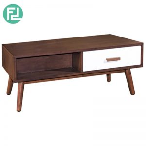 NARSY Coffee Table Solid Wood - CIGAR/WHITE