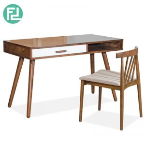 MLAKE Writing Table With Florence Chair - CIGAR/WHITE